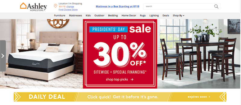 Ashley Furniture Presidents Day Sale Call to Action